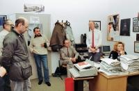 Beginning of November 1989 in Free Europe, from left: Vladimír Kusín, Karel Moudrý, Ivan Cikl, Petr Brod, Lída Rakušanová