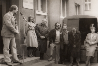 The Civic Forum campaign in Třebenice prior to the first free elections (second left Jaroslava Moserová, then Tomáš Ježek, Zdeněk Bárta and Lubomír Voleník)