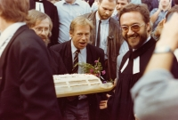 Václav Havel visiting in the church in Chotiněves in May 1990