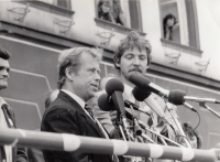 Václav Havel and Jan Pařízek in Litoměřice in 1990
