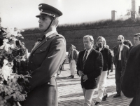 Václav Havel during commemoration in Terezín in 1990