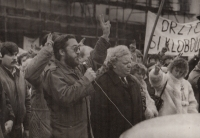 Demonstrace v Litoměřicích, listopad 1989 (ZB a JUDr. Malíř, komunistický starosta Litoměřic)