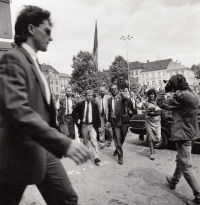 ZB leading Václav Havel to the townhall in Litoměřice in 1990