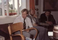 Václav Havel in the parish of Chotiněves in 1990