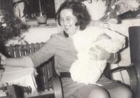 Bohumila Jindrová following the birth of her daughter Markéta in November 1968