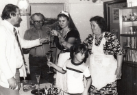 Bohumila Jindrová with her family in 1987