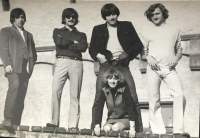 with his wife and band