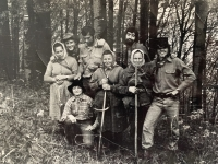 Witness Paulína Dubeňová at work in the forest (first from left)
