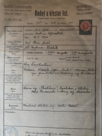 Witness' father's birth certificate