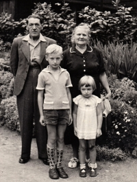 With her brother and grandparents, circa 1959