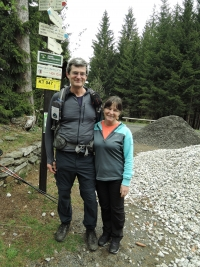 Tomáš, the witness' s brother, with his wife Majka on a trip to Ostrý, 2019