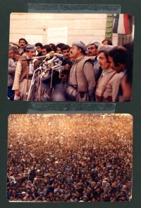 From the family album, Abdul Rahman Ghassemlou speaks at demonstrations in Iraqi Kurdistan, 1979 and 1980