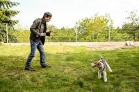 Snapshot of Rastislav Senkirik while playing with his dog