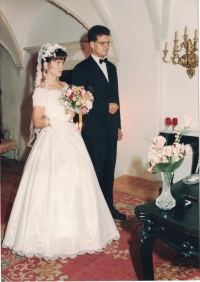 Wedding photographs of Jan and Edita Lachman, Červená Lhota chateau, September 13, 1996