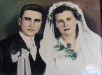 Wedding photo with his wife Maria