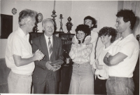 Alexander Dubček during a visit, 1989