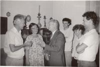Alexander Dubček during a visit, 1989