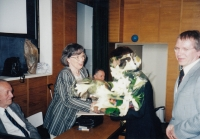 Receiving an honorary membership of the Czech-Moravian Psychological Society, 2003