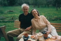 With her husband Jaromír at a cottage, 1995