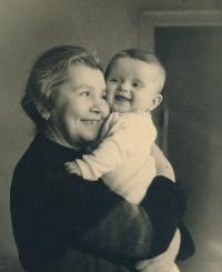 Grandma Hermína Vohryzková with Hana, 1938
