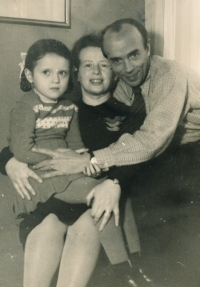 Hana, Anna and Karel Smržovi, circa 1945