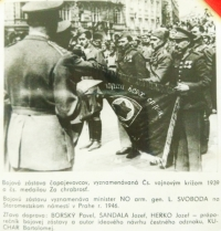 military decoration, handing over of a battle flag in 1946 on the Old Town Square in Prague