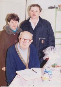 Vojtech Bunda with the mayor of Bošáca during his 90th birthday celebration
