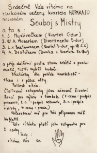 Invitation to a house concert of the Hopakaju quartet (Holický, Pavlík, Kaplan, Juna), 1976