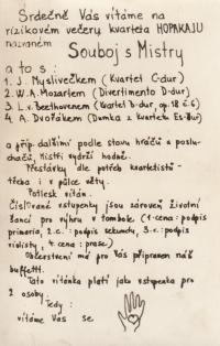 Invitation to a house concert of the Hopakaju quartet (Holický, Pavlík, Kaplan, Juna), 1976