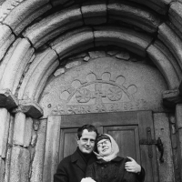 Jan Ságl a Zorka Ságlová in front of the portal of the church in Lukov u Humpolce, mid-1960s