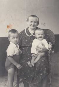 With her grandma Anežka and her cousin František