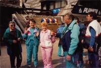 A visit to the race in ski jumping, Planica, Slovenia, 1991, from left: Miran Horvát, Vlasta Remsová, Mrs. Motejlková, Zdeněk Remsa