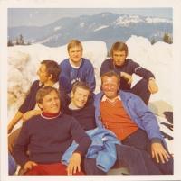 Planica, Slovenia, Zdeněk Remsa on the bottom left (with a burnt face), 1980s