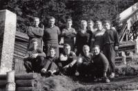 The summer training in Rožnov pod Radhoštěm, 1961, top left: P. Berka, Z. Remsa, Z. Hubač, D. Motejlek, Sedlák, I. Divila, J. Raška; from bottom left: R. Doubek, F. Rydval, J. Metelka, R. Höhnl, P. Mikeska