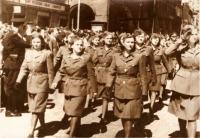 First anniversary of liberation, parade in Žatec, 1946. Alla Karfíková-Boroličová, second from the right. Source: Československé ženy
