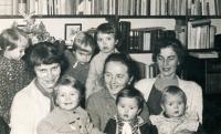 With Dana Němcová (on the left) and Mrs Forbelská, sister of Jiří Němec (on the right), and her mother (in the middle), visiting the Němec family in December 1959