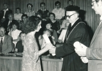 Graduating from the Faculty of Education, Charles University, 1987