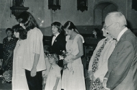 Marrying Ludvík Hradilek in church in Velká Úpa, July 22, 1982 (bride and groom on the left)