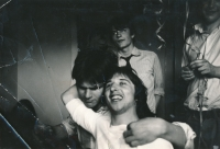 Farewell party for Jan Mlynárik (o the left) in a house in Buďánky, about 1979, her brother, Antonín Mucha (in the front), Filip Topol (in the back)