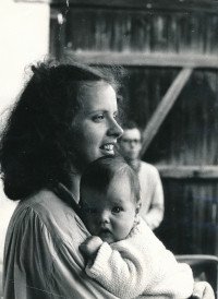 With her son, Ludvík, 1988