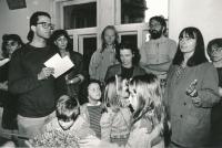 A tactile art exhibition at U Řečických Gallery (Terezie Gradilková in the middle), 1993