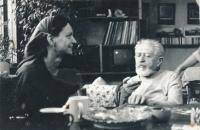 Her friend, Veronika Bartošková, with her father, Karel Bartošek, 1998