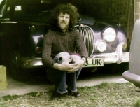 Joe Kučera and his jaguar - Norwich, 1970s