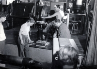Eva Mudrová in the engine room of the Ludvík mine in Ostrava, 1956