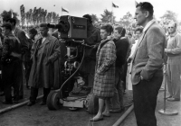 Eva Mudrová during live broadcast of the finish of one of Peace Race´s stages , VŽKG (Klement Gottwald´s Vítkovice Ironworks) stadium in Ostrava in 1959