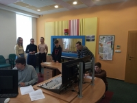 Students during the Stories of our Neighbors project in Jičín editing the audio report