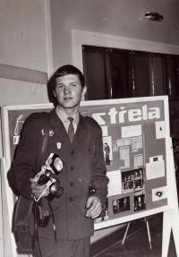 Jiří Kráčalík jako reportér vojenského časopisu Střela, polovina 70. let