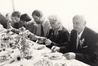 At the wedding, the end 1970s, uncle Jaroslav Finfrle at the front