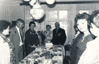 His parents' golden anniversary, Věra a Jiří are centered at the head of the table, Zdeněk Doležal is second from the left, Úštěk, 3 March 1979