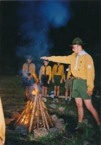 Stanislav Balík by the campfire
